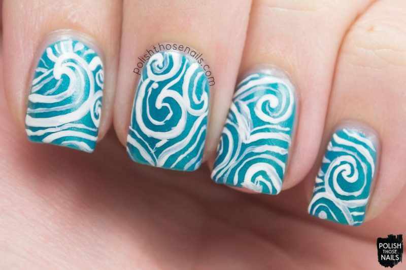 swirls, sea foam, teal, nails, nail art, nail polish, indie polish, polish those nails, parallax polish