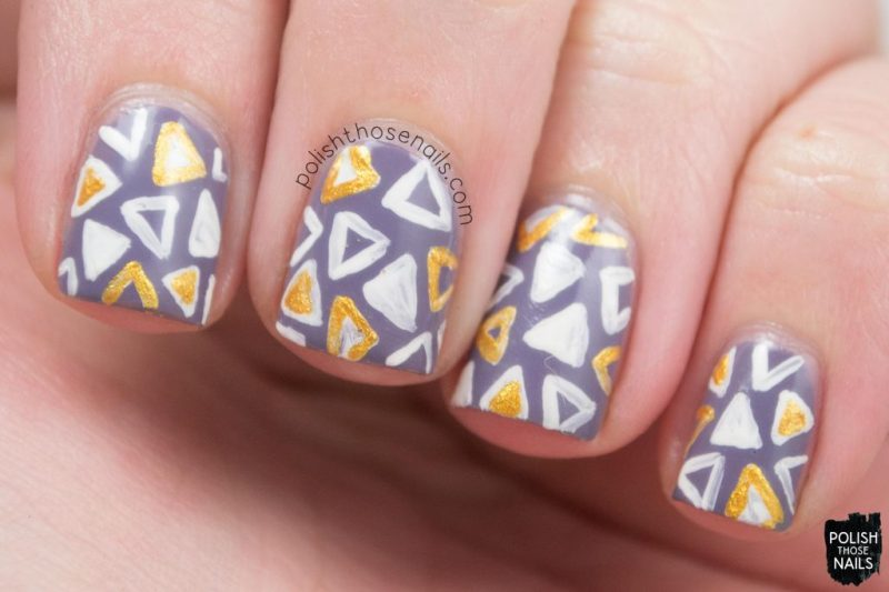 nails, nail art, triangles, geometric, purple, polish those nails
