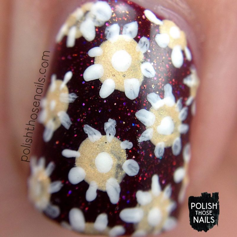 nail art, floral, deep red, click three times, nails, nail polish, indie polish, midwest lacquer, polish those nails, red, nail art