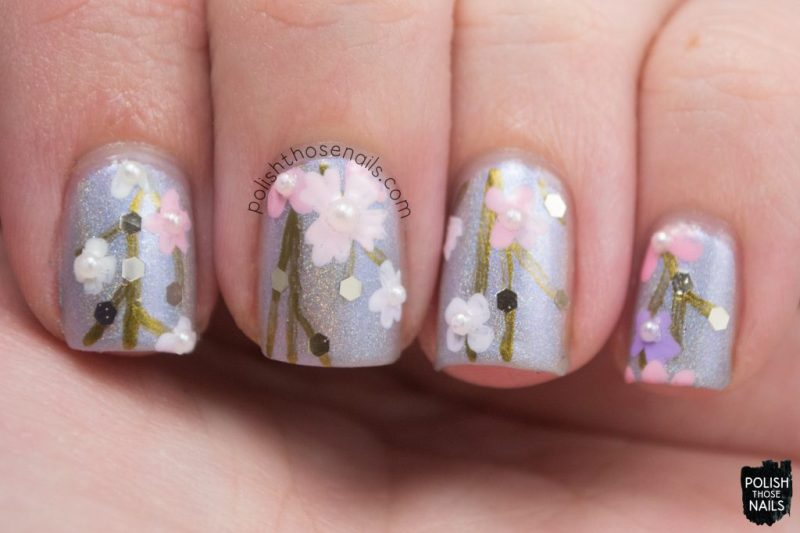 nails, nail art, nail polish, silver, floral, polish those nails