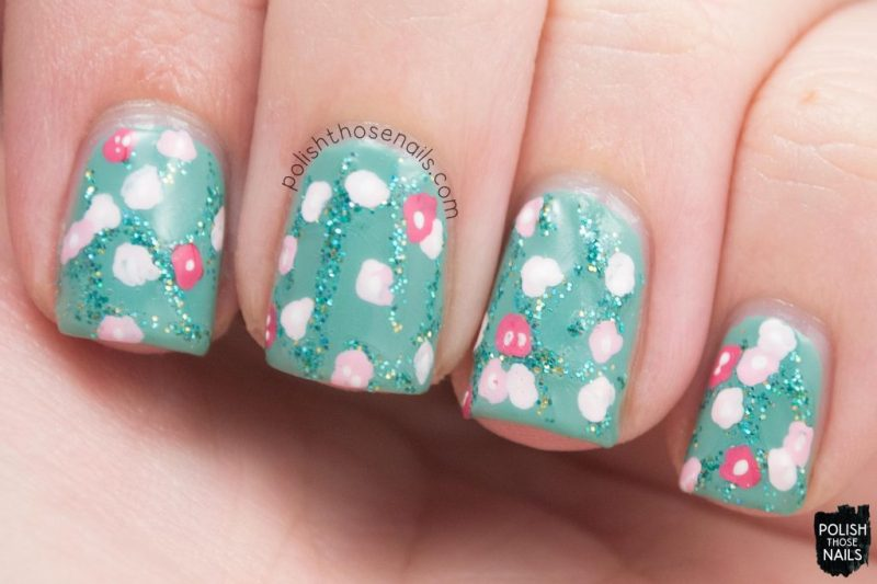 nails, nail art, nail polish, teal, floral, polish those nails