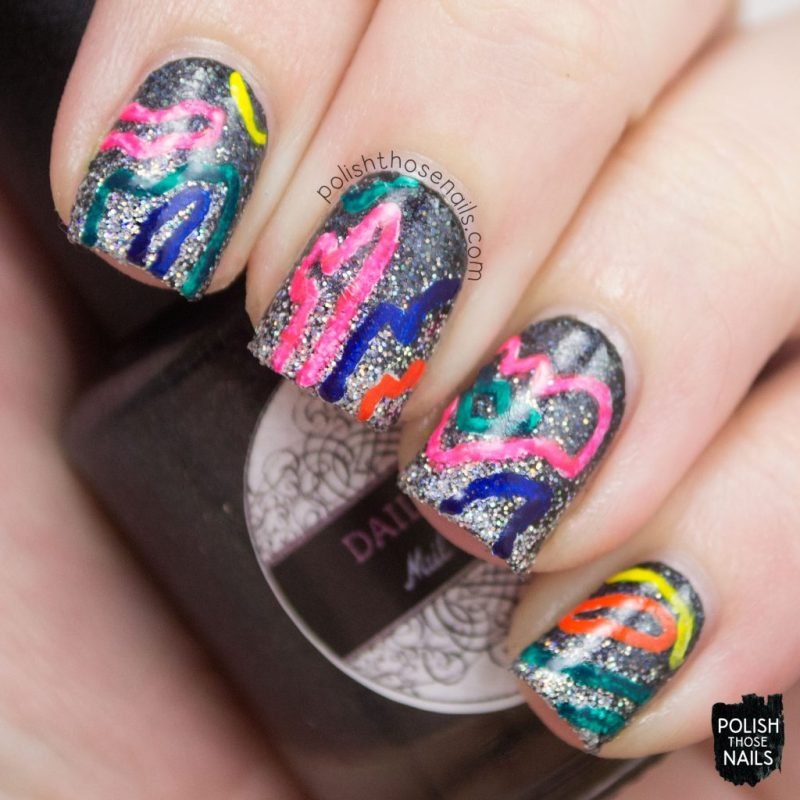 nails, nail art, nail polish, indie polish, glitter, neon, polish those nails, gradient