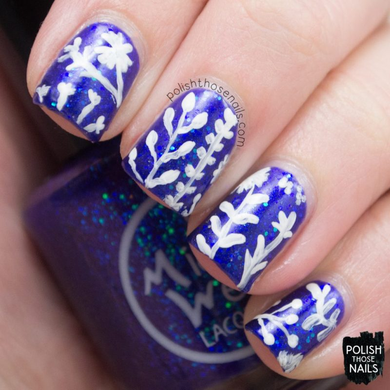 nail art, where bluebirds fly, blue, glitter, midwest lacquer, polish those nails, indie polish, nails, nail polish