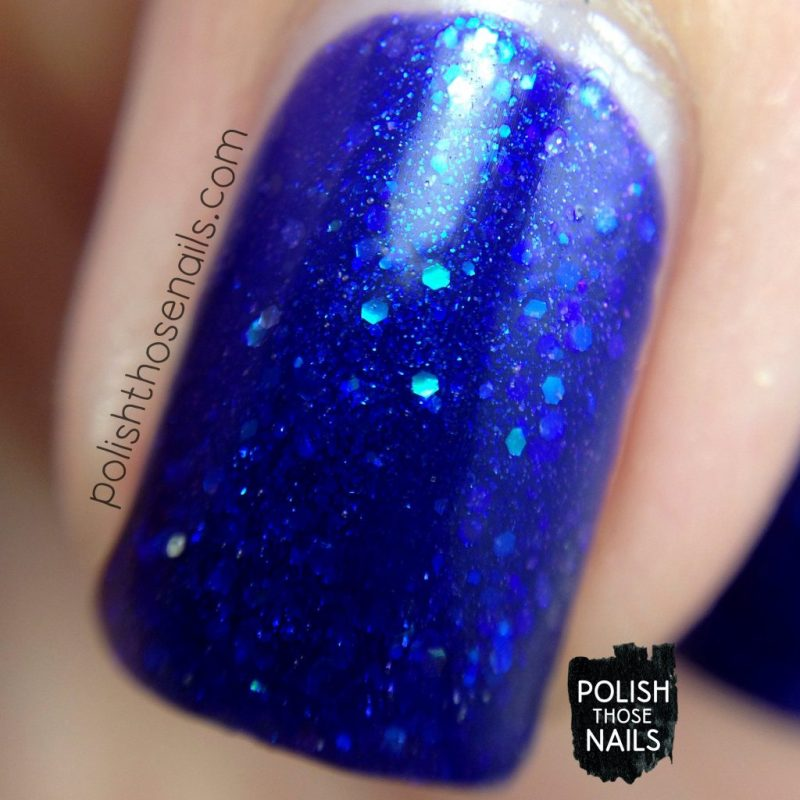 swatch, where bluebirds fly, blue, glitter, midwest lacquer, polish those nails, indie polish, nails, nail polish, macro