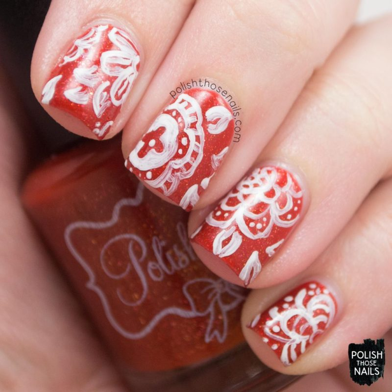 Nail Art, Floral, Pattern, Orange, Pumpkins In The Patch, Flakies, Polish Those Nails, Polish 'M, Indie Polish