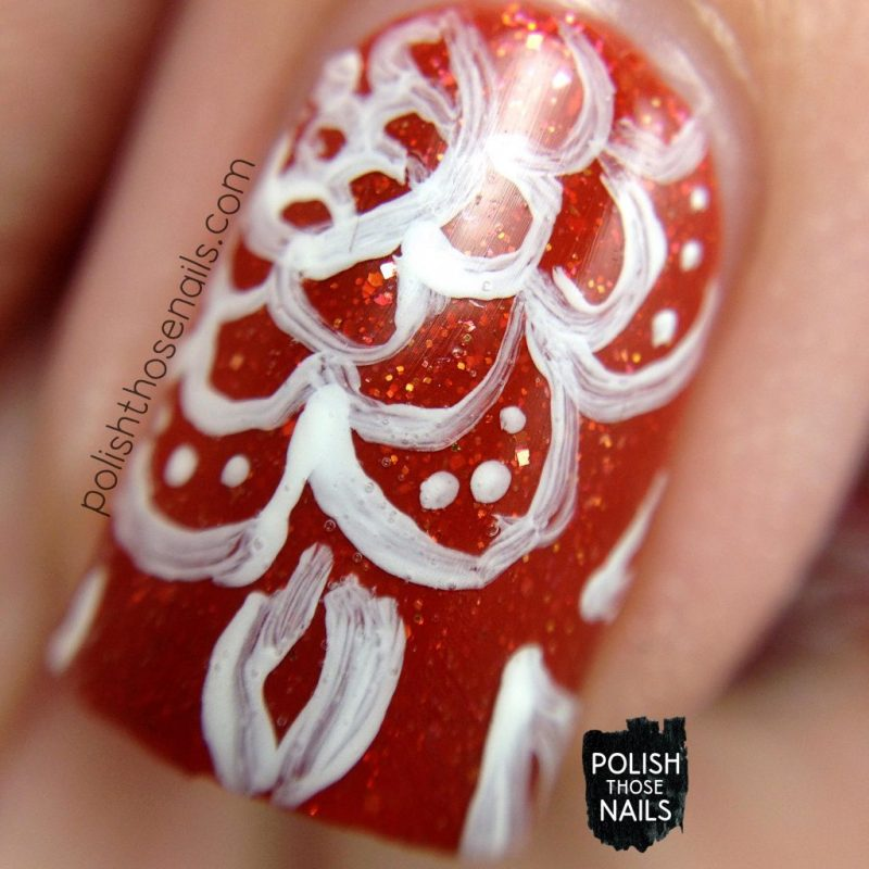 Nail Art, Floral, Pattern, Orange, Pumpkins In The Patch, Flakies, Polish Those Nails, Polish 'M, Indie Polish, Macro
