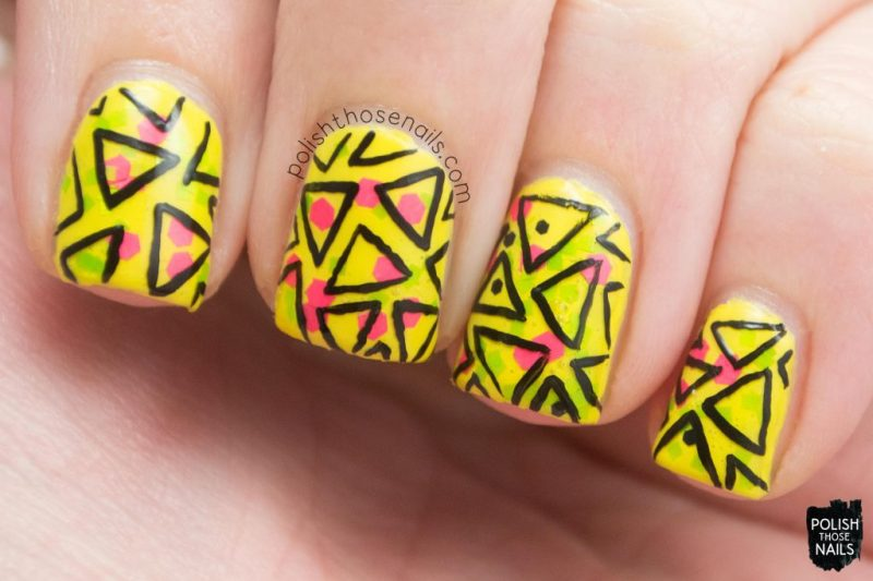 nail art, geometric, triangles, yellow, bright, wham!, nails, nail polish, indie polish, love angeline, polish those nails, glitter
