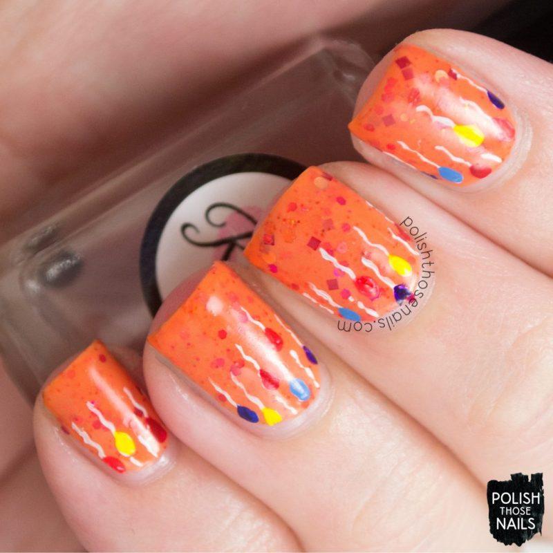 nails, nail art, nail polish, orange, bliss polish, polish those nails, ballooons