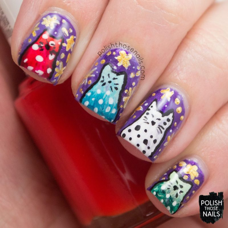 nails, nail art, nail polish, cats, whimsy, polish those nails