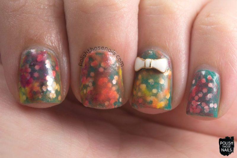 glitter, hammer time, nail art, watercolor, bow, nails, nail polish, polish those nails, indie polish, love angeline