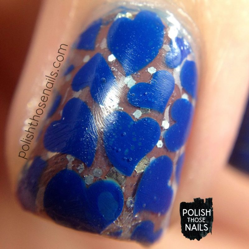 blue, vinyl, nail art, she loves me, glitter, nails, nail polish, polish those nails, indie polish, love angeline, macro