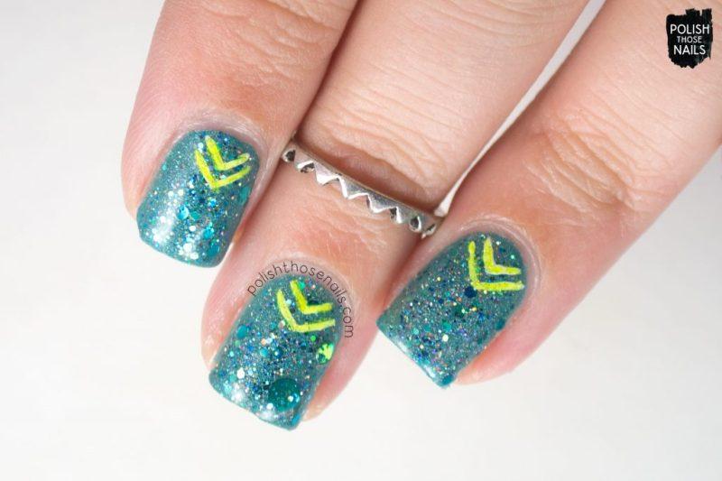 nails, nail art, nail polish, glitter, teal, indie polish, neon, polish those nails