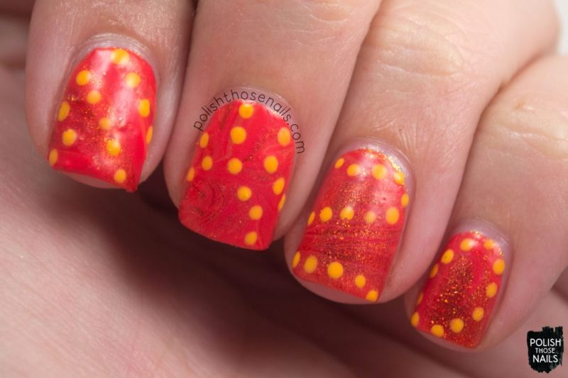 nails, nail art, nail polish, orange, watermarble, polka dots, polish those nails