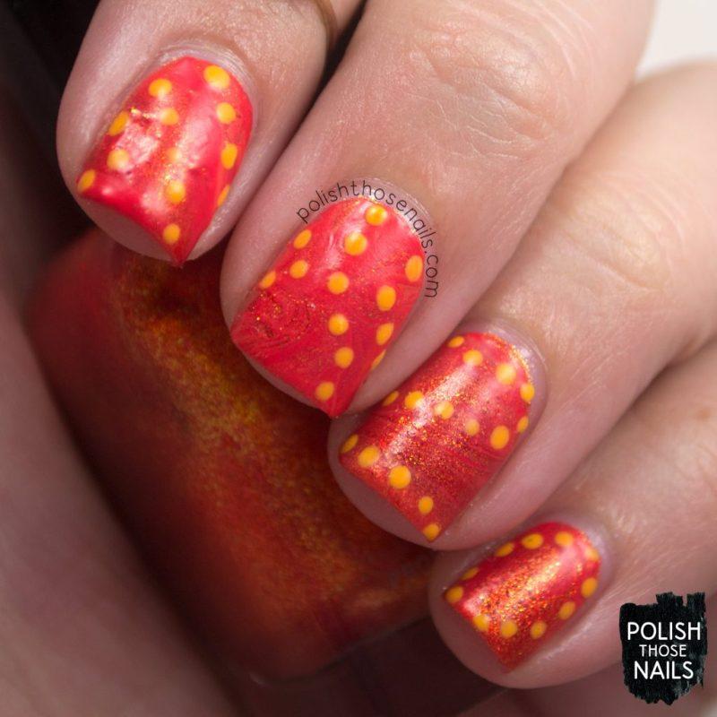 nails, nail art, nail polish, orange, watermarble, polka dots, polish those nails