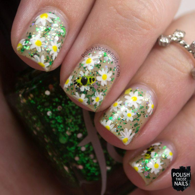 nails, nail art, nail polish, floral, glitter, negative space, polish those nails