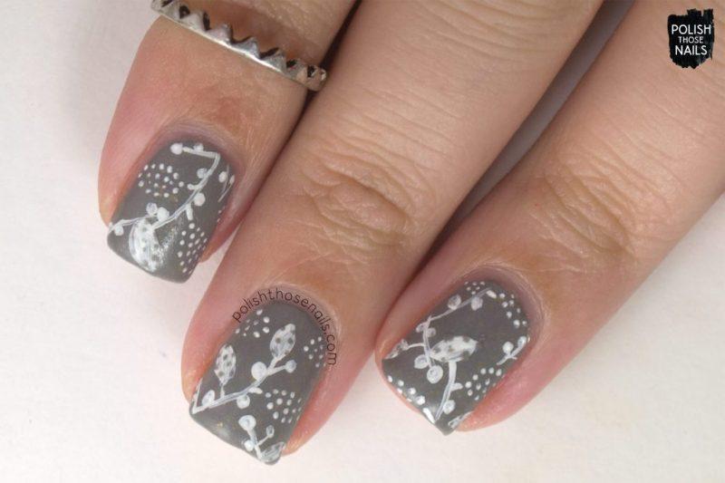 nail art, leaves, carry on, grey, flakies, nails, nail polish, love angeline, polish those nails, indie polish
