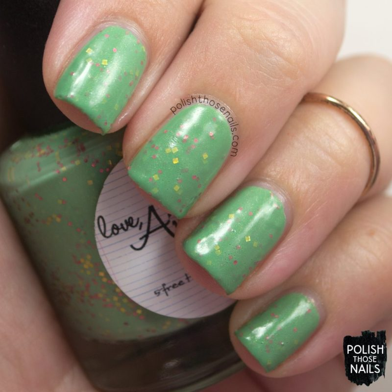 swatch, don't ruffle my feathers, green, glitter crelly, nails, nail polish, love angeline, polish those nails, indie polish