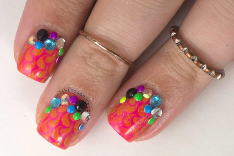 nails, nail art, nail polish, neon, china glaze, rhinestones, studs, polish those nails