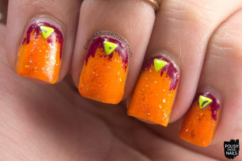 nails, nail art, neon, orange, glitter, studs, polish those nails