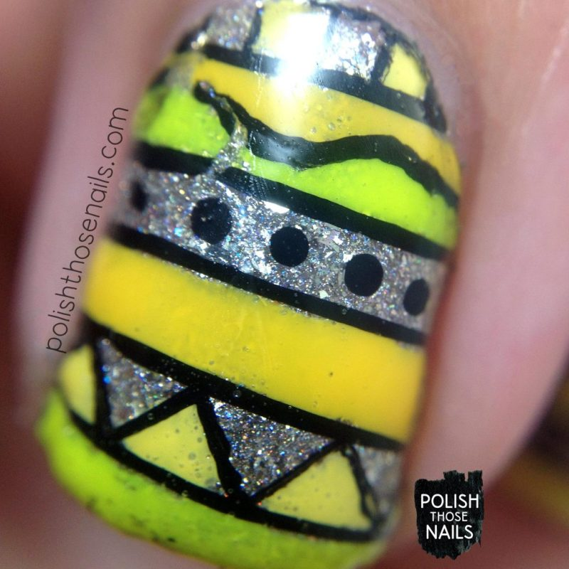 nails, tribal, nail polish, nail art, yellow, silver, polish those nails, macro