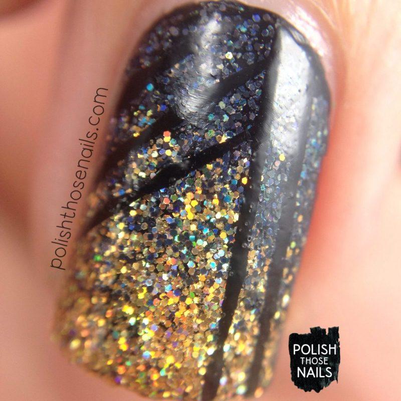 nails, nail art, nail polish, gradient, gold, black, micro glitter, daily hues nail lacquer, polish those nails, macro