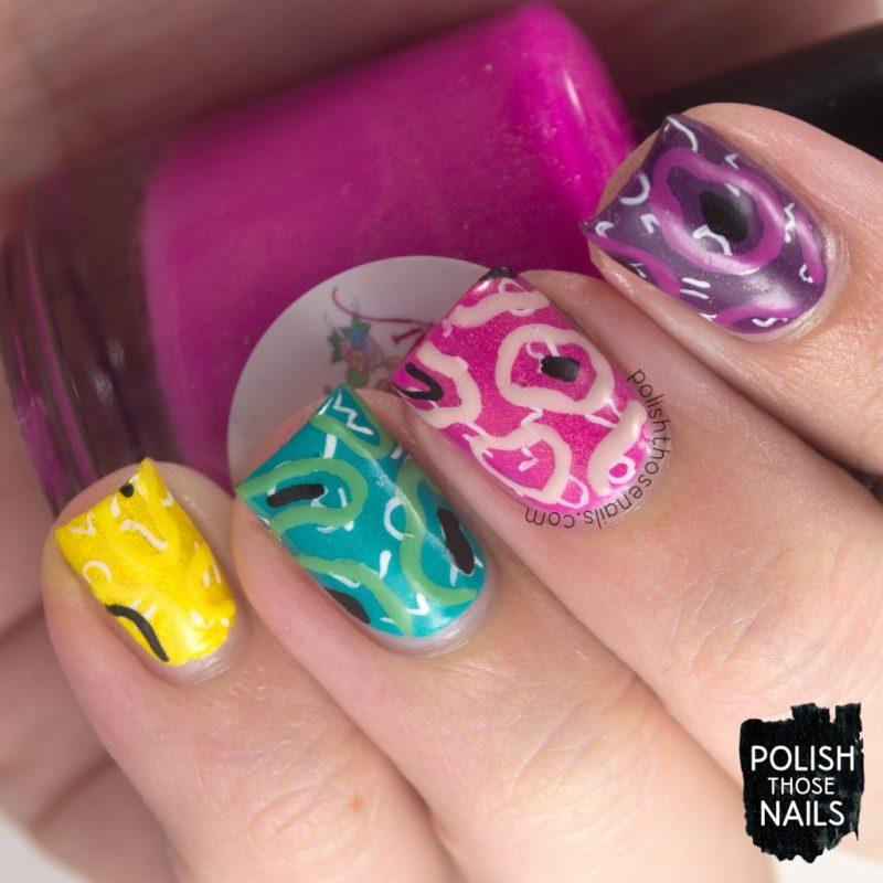 nails, nail art, nail polish, squiggles, 80s, pattern, polish those nails