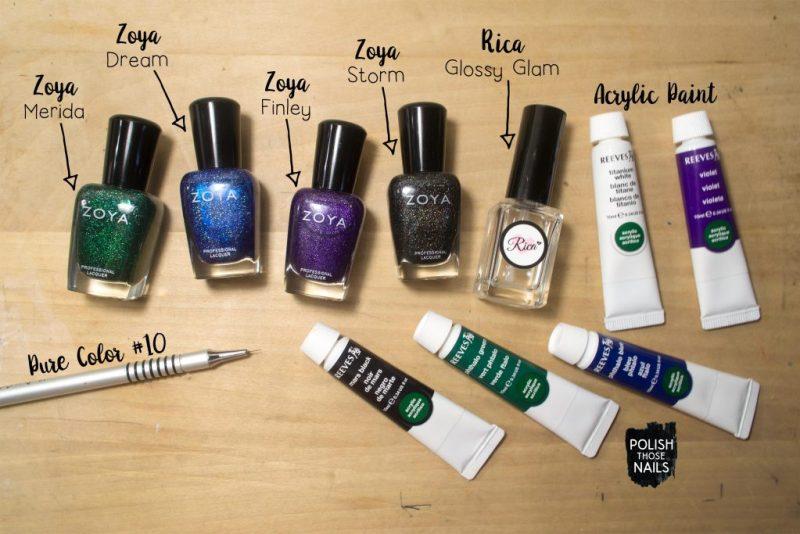 holo-flakie-green-blue-green-black-diamond-pattern-nail-art-bottle-shot