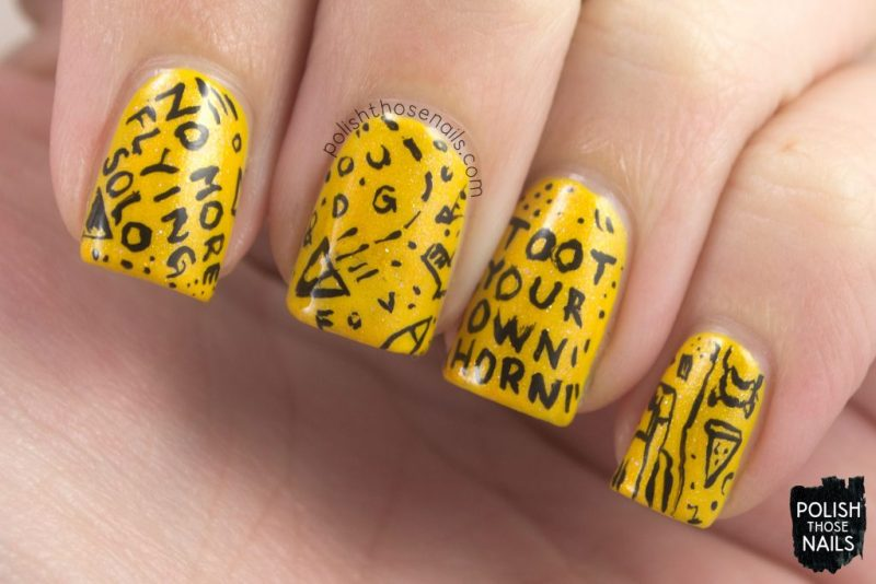 nails, nail art, nail polish, yellow, shimmer, book, burn your portfolio, polish those nails