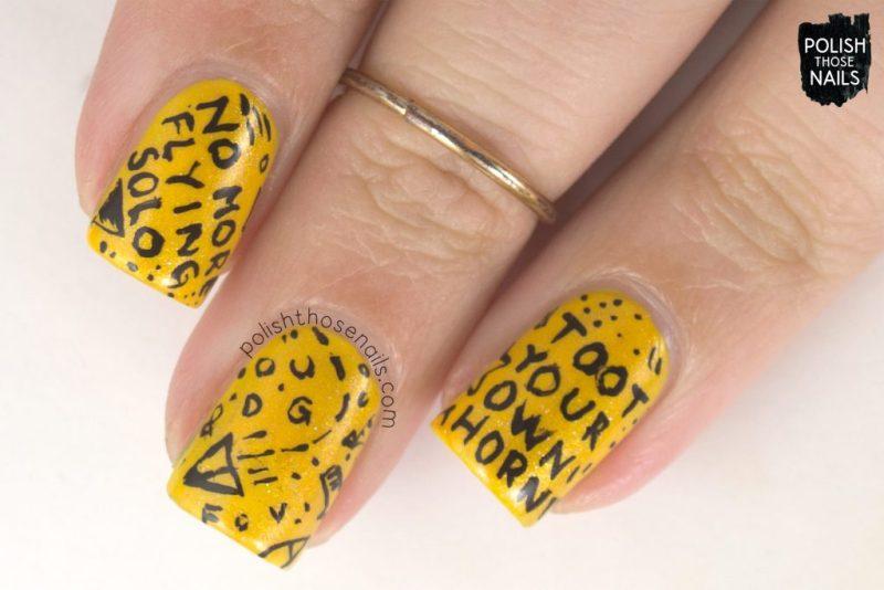 nails, nail art, nail polish, yellow, shimmer, book, burn your portfolio, polish those nails