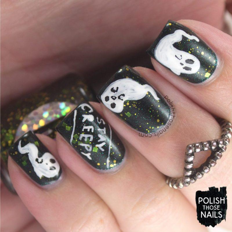 nails, nail art, nail polish, green, ghosts, halloween, polish those nails, indie polish
