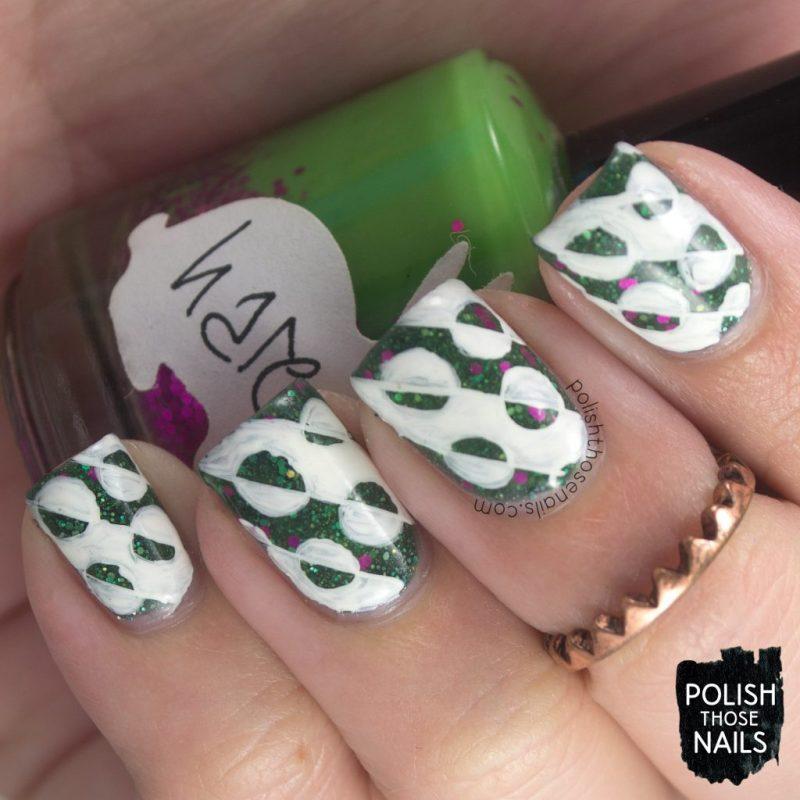 nails, nail art, nail polish, tutorial, green, glitter, polish those nails, indie polish