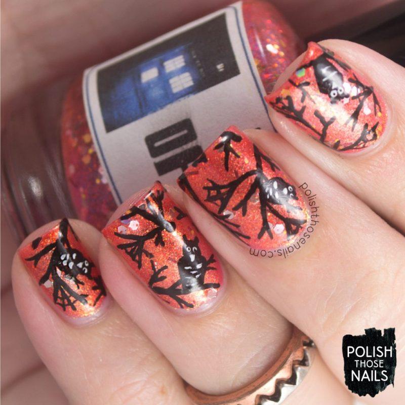 nails, nail art, nail polish, owls, orange, indie polish, polish those nails, halloween