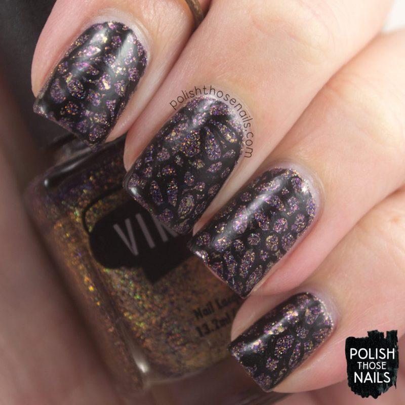 nails, nail art, nail polish, lace, purple, glitter, indie polish, polish those nails, vampy