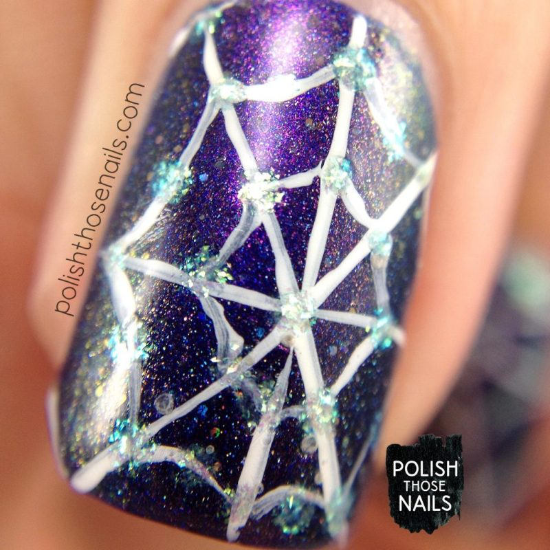 nails, nail art, nail polish, spiderwebs, purple, polish those nails, indie polish, macro