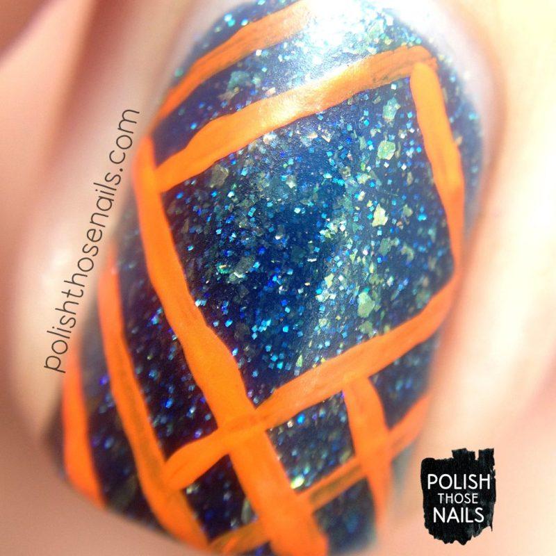 nails, nail art, nail polish, flakies, contrast, stripes, polish those nails, indie polish, macro