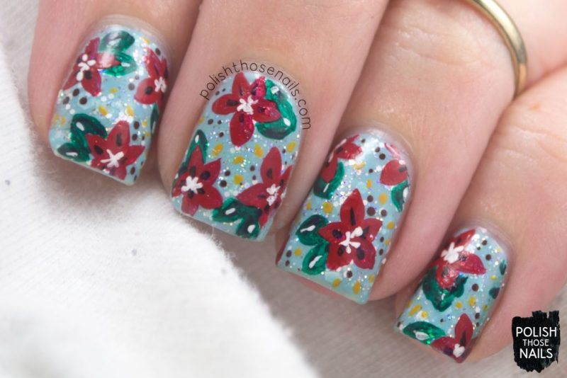 nails, nail art, nail polish, indie polish, poinsettia, flowers, floral, polish those nails