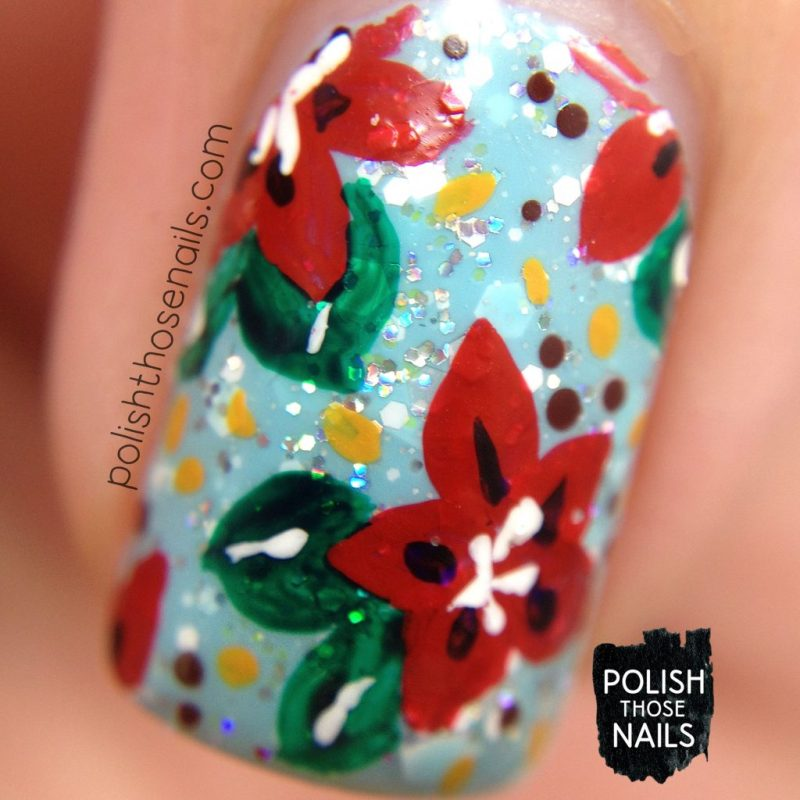 nails, nail art, nail polish, indie polish, poinsettia, flowers, floral, polish those nails, macro