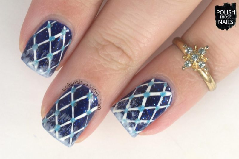 nails, nail art, nail polish, winter, scarf, plaid, polka dots, blue, indie polish, polish those nails