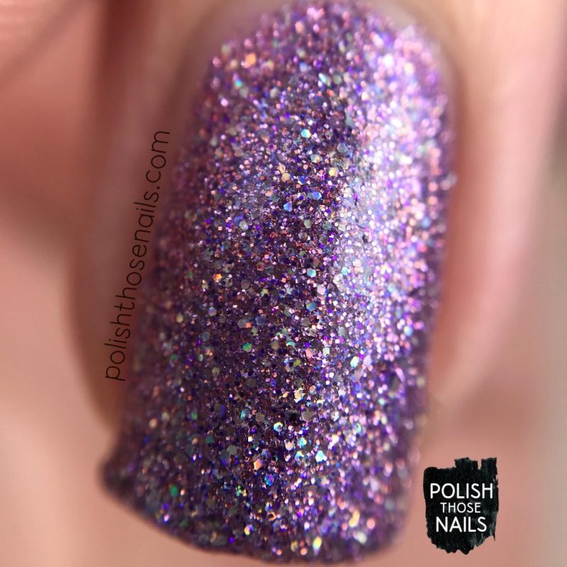 swatch, anniversary bling, purple, micro glitter, love angeline, indie polish, polish those nails, nails, macro