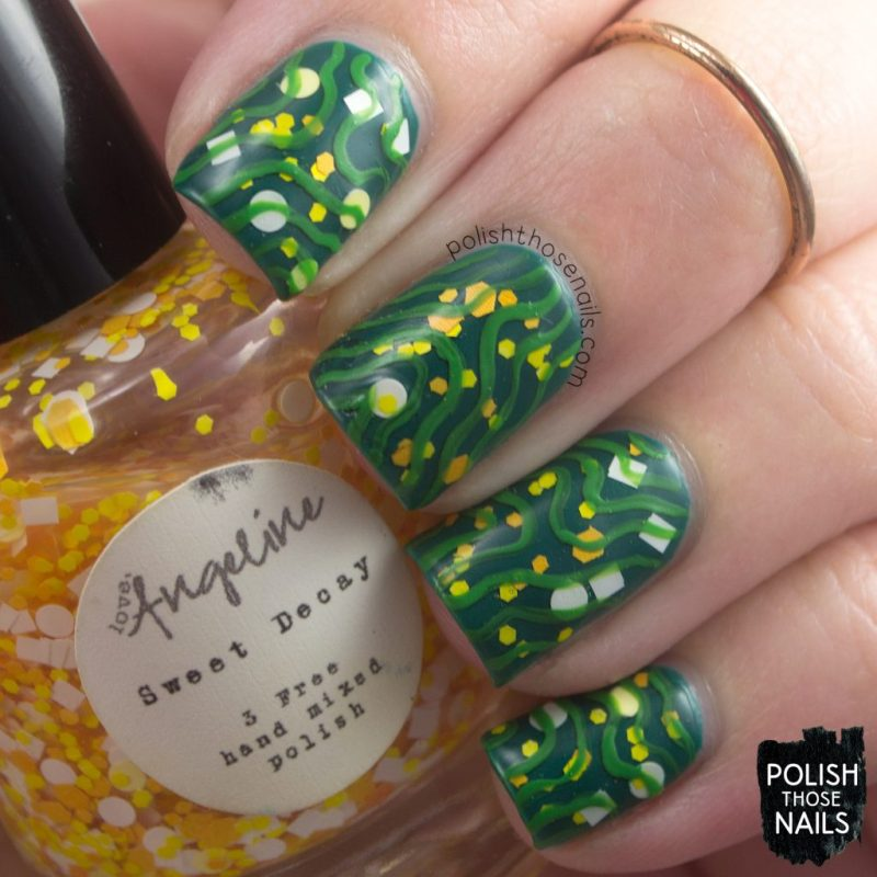 nail art, pattern, sweet decay, love angeline, polish those nails, indie polish, glitter,