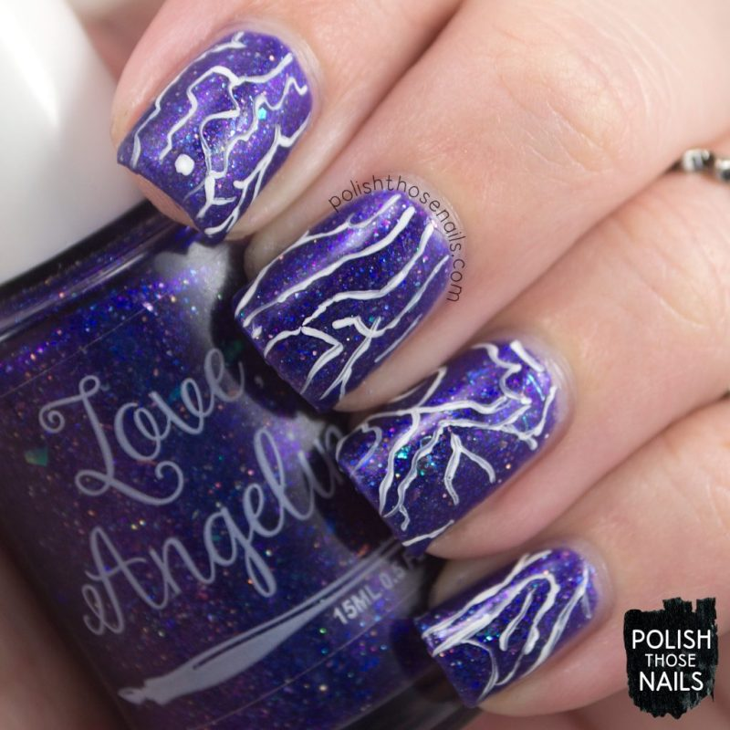 love angeline, nails, nail polish, indie polish, polish those nails, nail art, pattern, love abides, purple, glitter