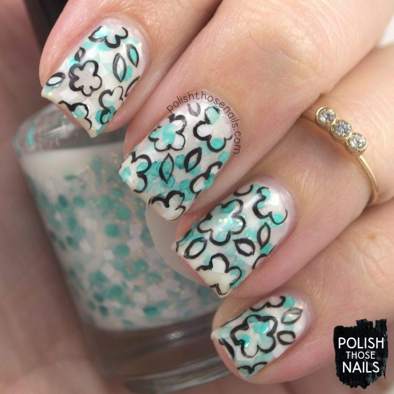 tea'lite, white, glitter crelly, nails, nail polish, indie polish, love angeline, polish those nails, nail art, pattern