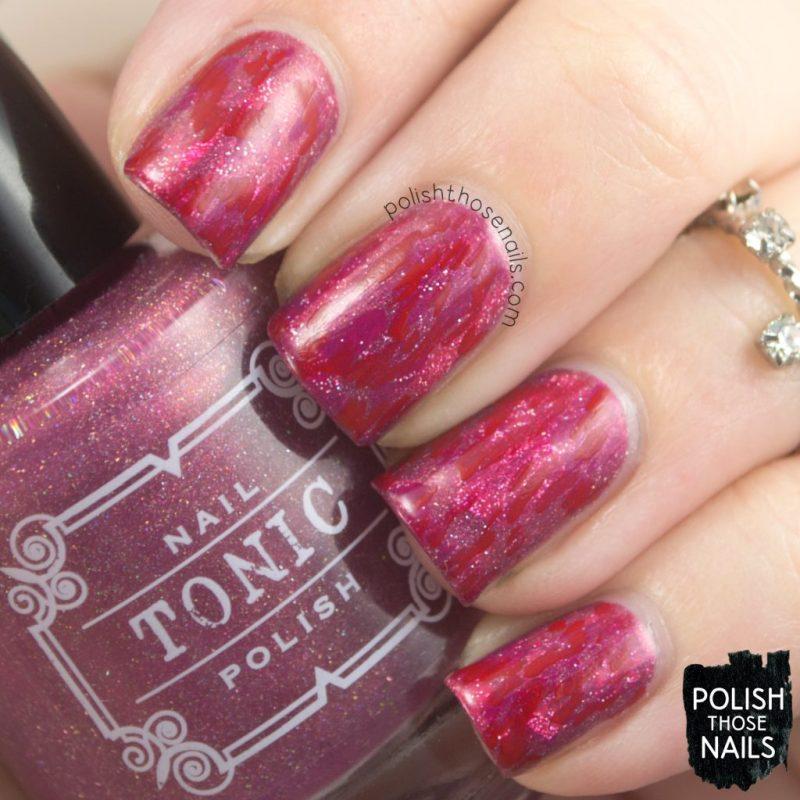 nails, nail art, nail polish, pink, red, ikat, abstract, indie polish, polish those nails