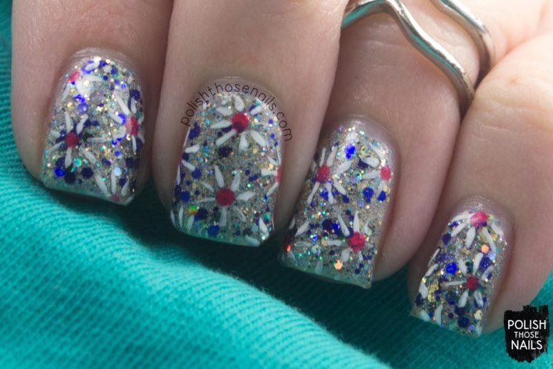 nails, nail art, nail polish, indie polish, silver, fireworks, polish those nails