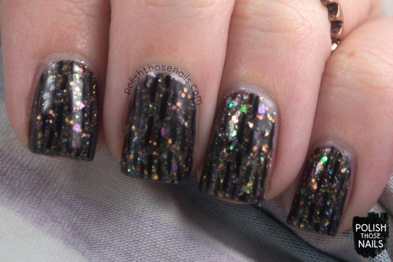 nails, nail art, nail polish, black, indie polish, glitter, polish those nails,