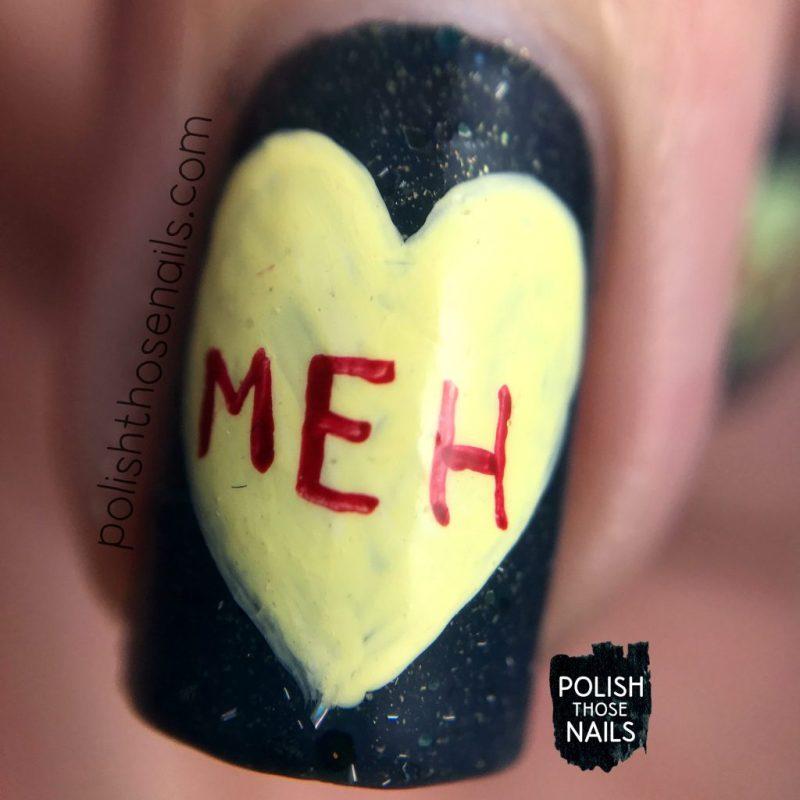 nails, nail art, nail polish, conversation hearts, valentines, polish those nails, shimmer, macro