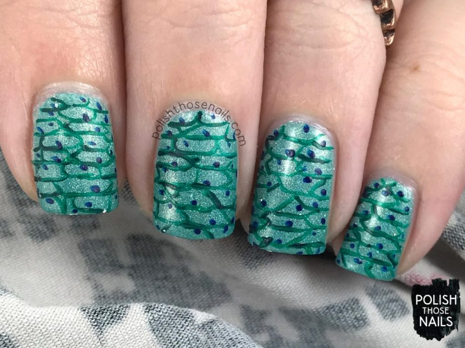 nail art, pattern, love angeline, indie polish, polish those nails, 31 in torrance, holo, seafoam, teal,