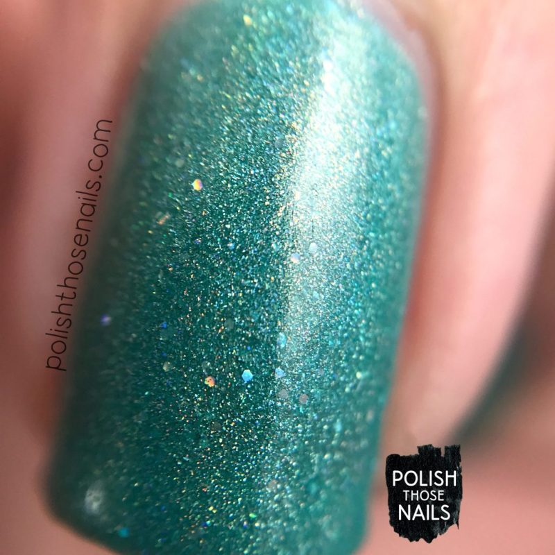 love angeline, indie polish, polish those nails, 31 in torrance, holo, seafoam, teal, swatch, macro