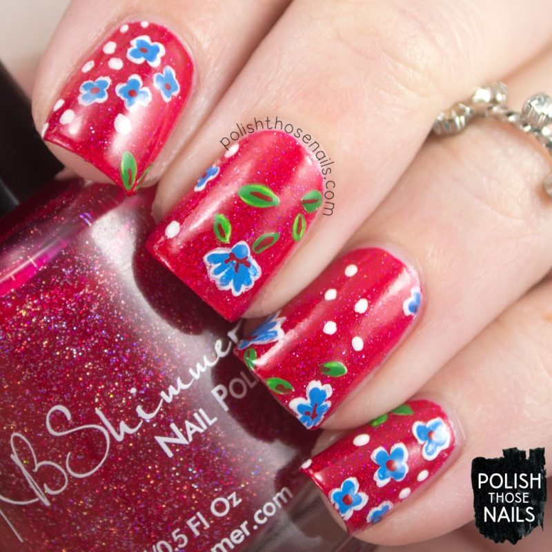 Blue Floral // Flower Of My Eye • Polish Those Nails
