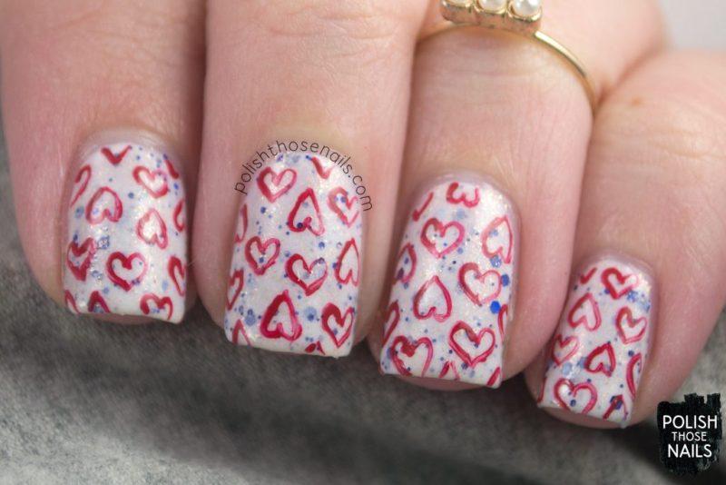 nails, nail art, nail polish, indie polish, hearts, pattern, polish those nails,